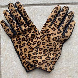Banana Republic Leather & Leopard Calf Hair Gloves